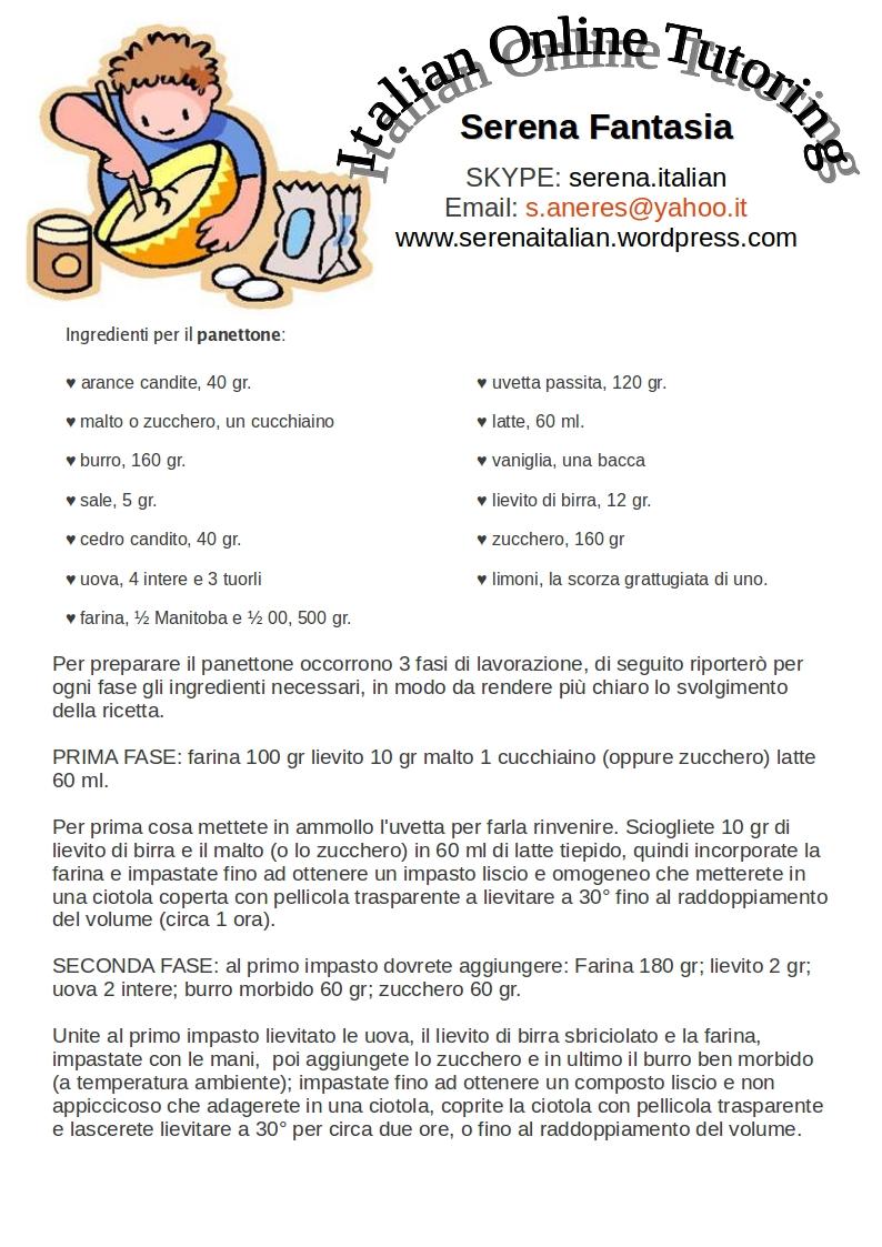 Ricetta di natale il panettone italian online tutor for Ricette on line